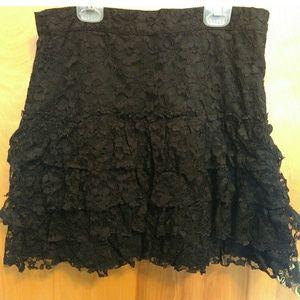 H&M raw edge lace ruffle skirt
